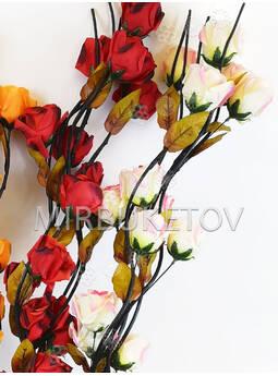 Ветка для декора спиральная черная, 4 Розы с листом, 1.50 м