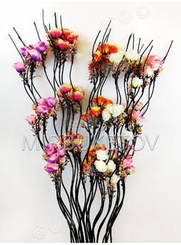 Ветка для декора спиральная деревянная черная, 3 Розы с добавками, 1.50 м