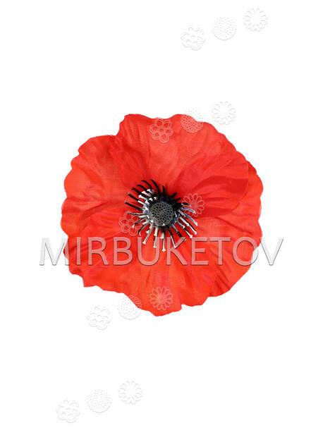 Искусственные цветы Мак красный, шелк, 100 мм