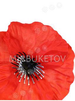 Искусственный цветок Мак красный, шелк, 100 мм
