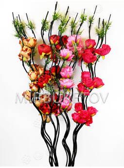 Ветка для декора спиральная черная, 3 Розы с добавками, 1.50 м