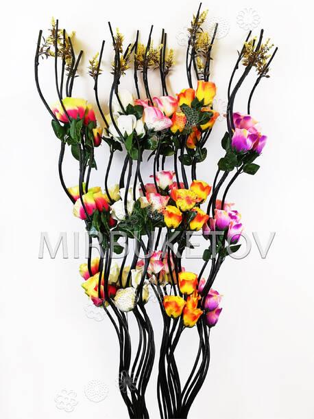 Ветка для декора спиральная, 3 Розы с листьями и добавками, 1.50 м