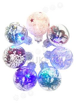 """Елочный шар пластиковый прозрачный """"Светлячок"""", 60 мм"""