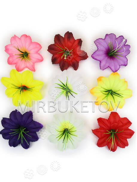 Искусственные пресс цветы с тычинкой куст Гибискус, шелк, микс, 130 мм