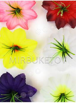Искусственные пресс цветы Гибискуса, с тычинкой, шелк, микс, 130 мм