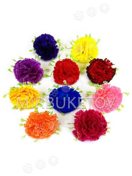 Искусственные цветы Гвоздики с подставкой, шелк, 85 мм
