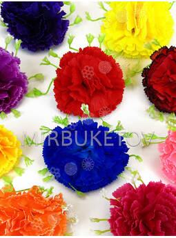 Искусственный цветок Гвоздики с подставкой, шелк, 85 мм