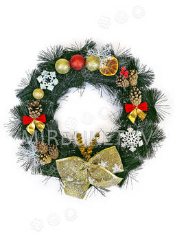 """Рождественский венок """"Золотистый бант"""", 37 см"""