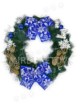 """Рождественский венок """"2 синих банта"""", 37 см"""