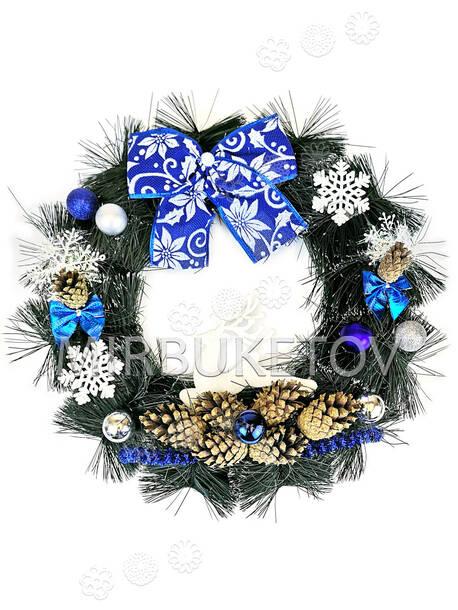 """Рождественский венок """"Белый олень"""", 37 см"""
