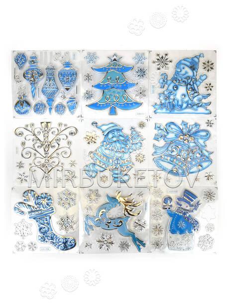 Наклейки пластиковые Новогодняя тематика, прозрачные, 160x160 мм