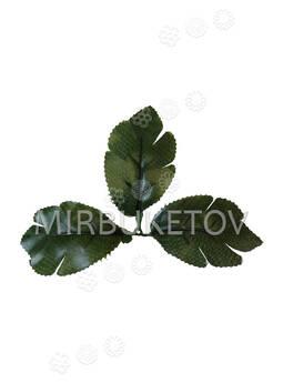 """Искусственный Лист тройной """"дубок"""", темно-зеленый, 100x160 мм"""
