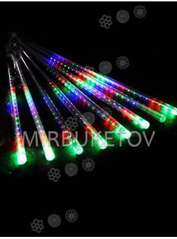 Гирлянда сосулька LED разноцветная, 8 стержней по 30 см