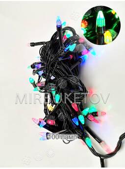 Гирлянда LED разноцветная, 100 ламп свеча, черный шнур