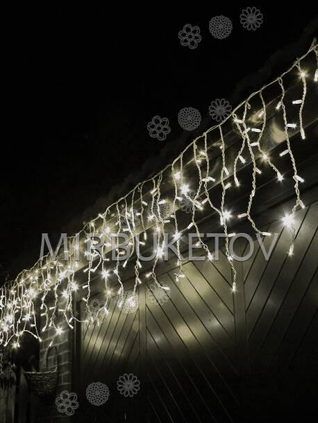 Уличная гирлянда бахрома 120 LED, теплый белый, 5.0x0.7 м, белый резиновый провод