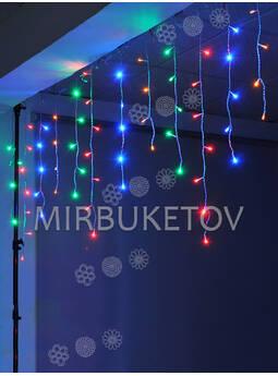Гирлянда бахрома, разноцветная, 120 LED, 3.0x0.7 м, белый провод