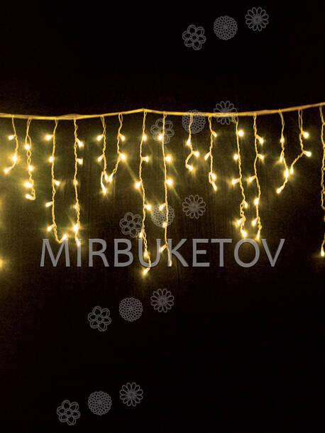 Гирлянда бахрома, желтая, 120 LED, 3.0x0.7 м, белый провод