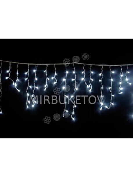 Гирлянда бахрома, холодная белая, 320 LED, 8.0x0.5 м, белый провод