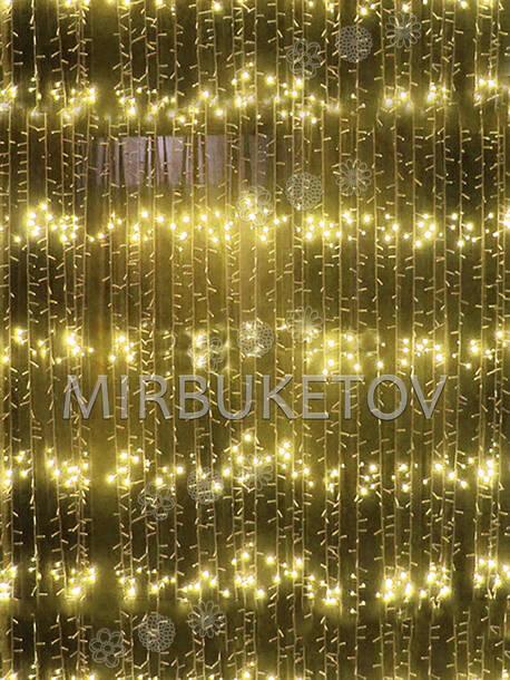 Гирлянда водопад LED, желтый, 560 ламп, 3x2 м