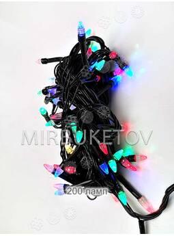 Гирлянда LED разноцветная, 200 ламп свеча, черный шнур