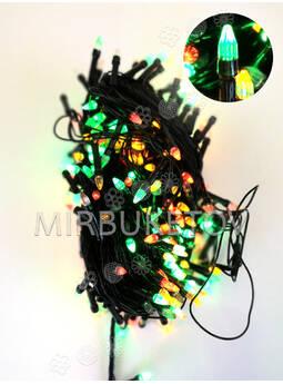 Гирлянда LED разноцветная, 500 ламп свеча, черный шнур