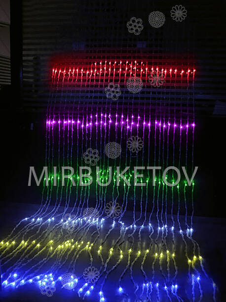 Гирлянда водопад LED разноцветная, 500 ламп, 3x2 м