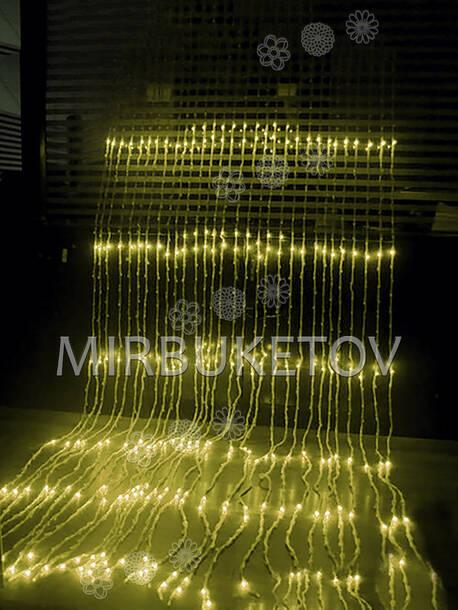 Гирлянда водопад LED желтая, 500 ламп, 3x2 м