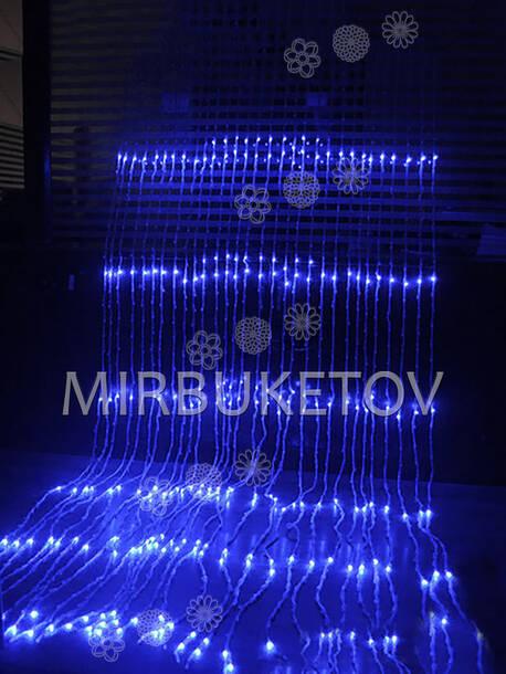 Гирлянда водопад LED, 500 ламп синего свечения, 3x2 м