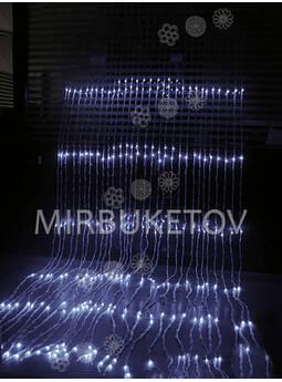 Гирлянда водопад LED холодная белая, 500 ламп, 3x2 м