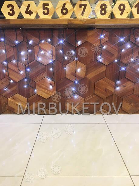 Гирлянда бахрома, белая, 120 LED, 3.0x0.7 м, черный провод
