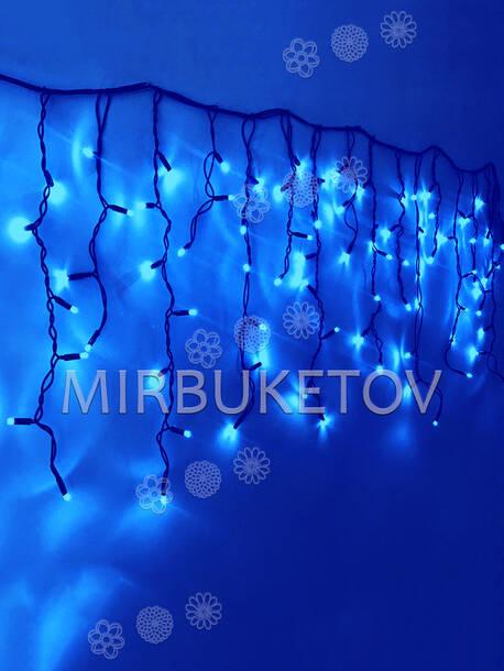 Гирлянда бахрома синяя, 120 LED, 3.0x0.7 м, черный провод