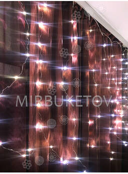 Гирлянда бахрома проволочная соединяемая, теплый белый, 200 LED ламп, 3.0x1.0 м