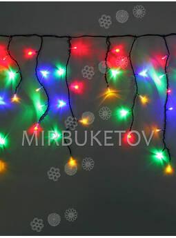 Гирлянда бахрома разноцветные лампы, 120 LED, 3.0x0.7 м, черный провод
