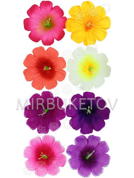 Пресс цветы с тычинкой Мальва, шелк, 100 мм