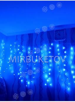 Гирлянда бахрома проволочная LED синяя, 200 ламп, 3.0x1.0 м