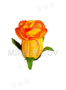 Искусственные цветы Роза бутон, атлас, 85 мм