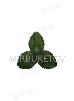 """Искусственный лист """"тройка"""", темно-зеленый, 80 мм"""