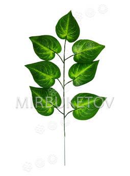 """Ветка с 7 искусственными листьями """"Рейнутрия японская"""", 420 мм"""