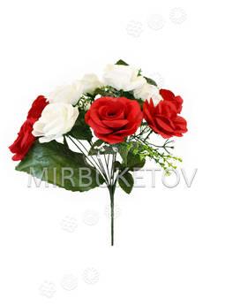 Искусственные цветы Букет Роз двухцветный, 13 голов, 370 мм