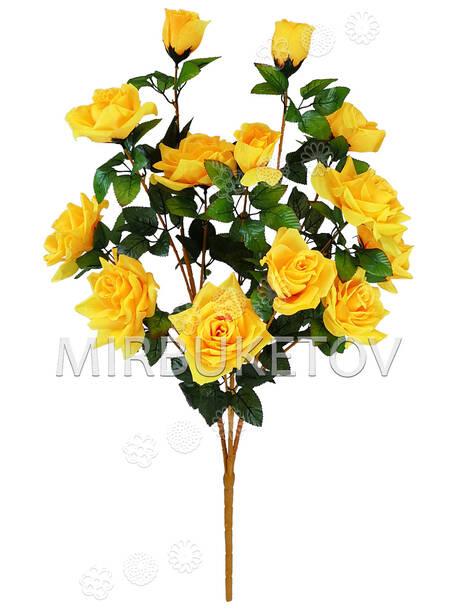 Искусственные цветы Букет открытой Розы VIP, 13 голов, микс, 770 мм