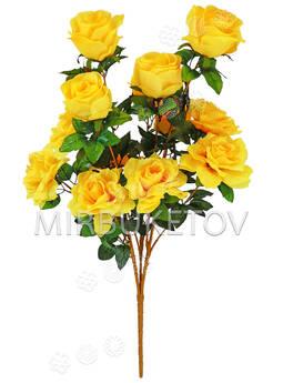 Искусственные цветы Букет открытой Розы VIP, 13 голов, микс, 780 мм