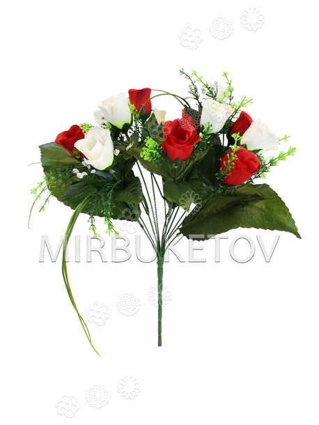Искусственные цветы Букет Роз в бутонах двуцветный, 13 голов, 370 мм