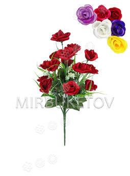 Искусственные цветы Букет открытой Розы, шелк, 18 голов, 440 мм