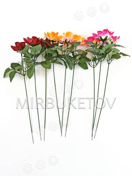 Искусственная ветка Розы, микс, 360 мм