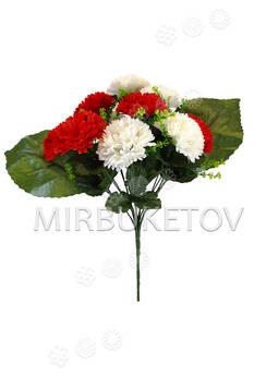Искусственные цветы Букет красно-белой Гвоздики, 13 голов, 370 мм