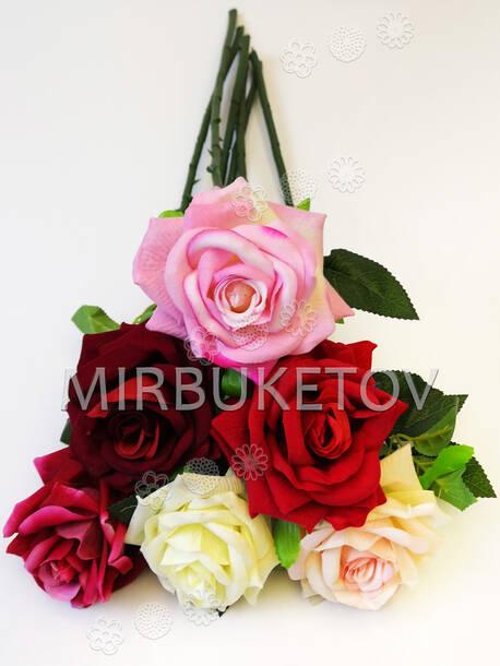 Искусственные цветы Премиум Роза на ножке, бархат, 500 мм