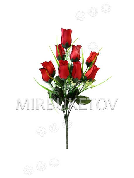 Искусственные цветы Букет Розы, 9 голов, шелк, 430 мм