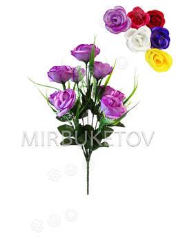 Искусственные цветы Букет Розы открытой, 9 голов, шелк, 400 мм