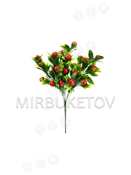 Искусственные цветы Букет Ягоды, 30 плодов, красный, 310 мм