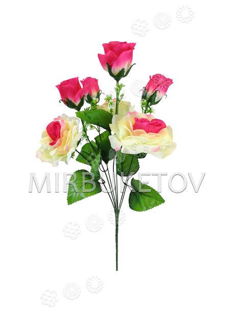 Искусственный букет из цветов Розы, 7 голов, 480 мм